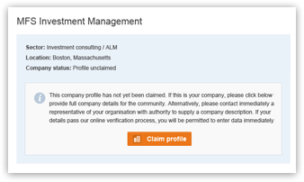 Screenshot of a company profile page waiting to be claimed on Savvy Investor