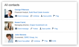 Follow users, make connections or invite your contacts to join Savvy Investor